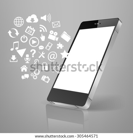 smart phone emitting holographic image of social media related icons. - stock vector