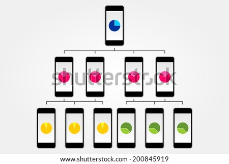 Smart-phone flowchart vector isolated on white background - stock vector