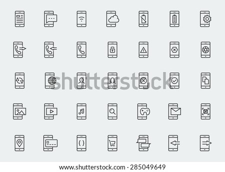 Smart-phone functions and apps vector icon set in outline style - stock vector