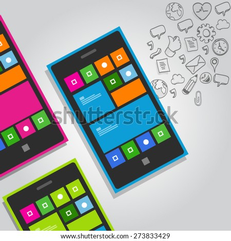 smart phone functions icon vector mobile phone pictograms