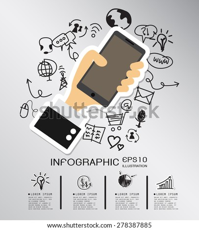 Smart phone hand drawn concept with icons background. vector - stock vector
