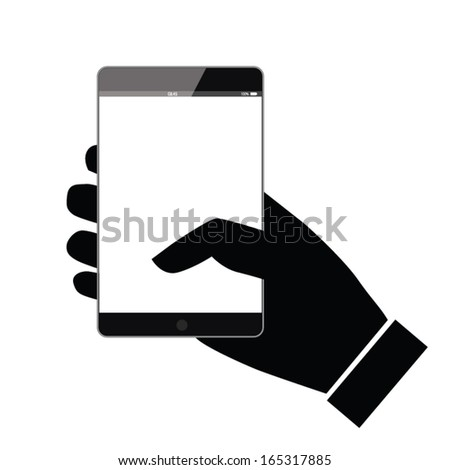 smart phone holding hands. smart technology. finger show. concept design. vector illustration