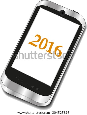 smart phone icon isolated on white with a 2016 sign . Vector illustration