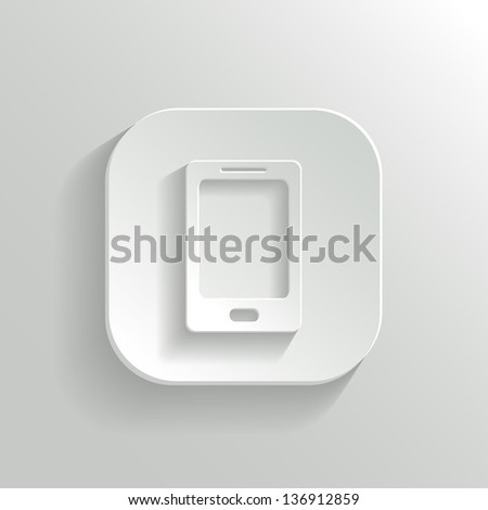Smart phone icon - vector white app button with shadow - stock vector