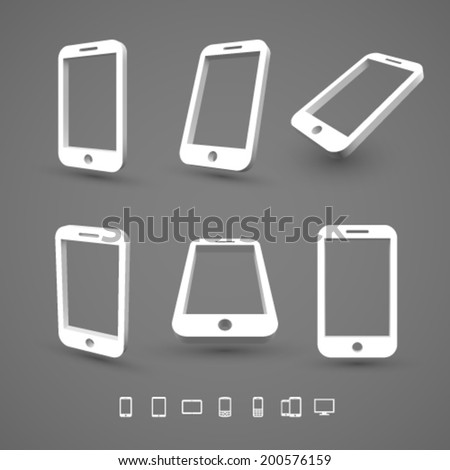 Smart phone icons 3D. - stock vector