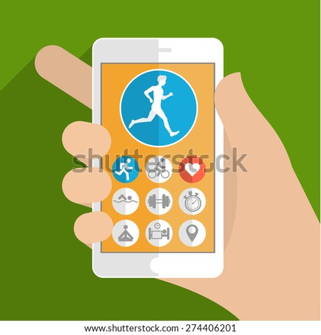 Smart phone in hand. Fitness app concept on touchscreen. Flat design vector illustration