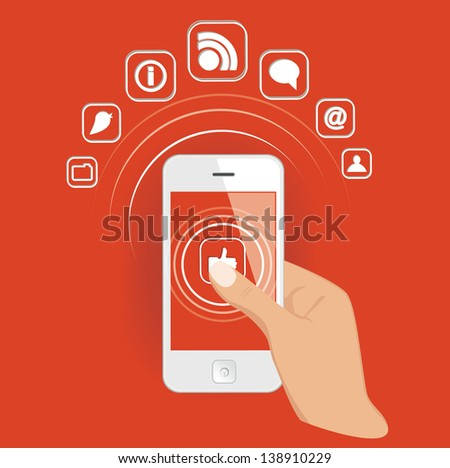 Smart phone in hand with media icons. Vector eps10 illustration. - stock vector