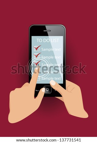 Smart phone in hands with check list.  Vector eps10 illustration. - stock vector