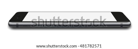 Smart phone in iphon 7 style with blank screen isolated on white background. Vector illustration. EPS10