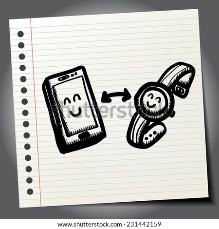Smart Phone Mobile doodle - stock vector