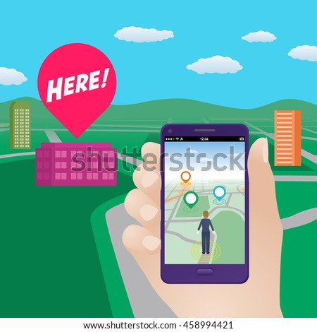 smart phone navigation application using location information, hand hold smart phone, vector illustration