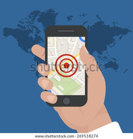 smart phone navigation mobile gps tracking stock vector royalty free 269518274 shutterstock. Black Bedroom Furniture Sets. Home Design Ideas