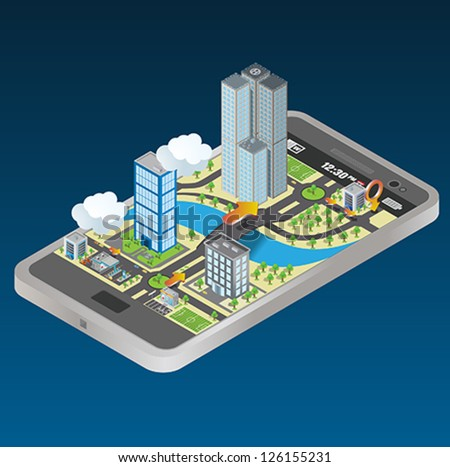 smart phone navigation - mobile gps 3d concept . vector - stock vector