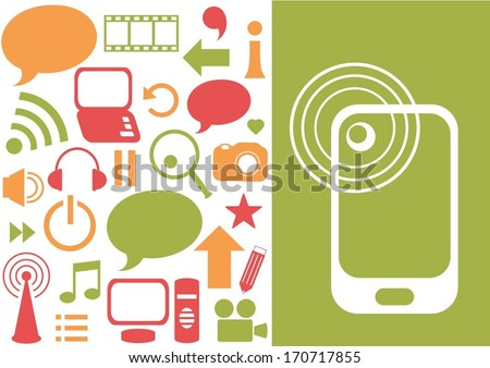 smart phone on green background with internet elements - stock vector