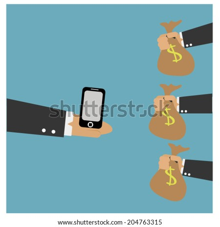 smart phone  on hand and money bag - stock vector