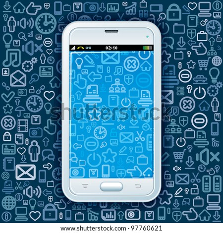 Smart Phone on Web Icons Pattern. Abstract Vector Background