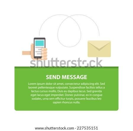 Smart phone send message design concept, flat vector illustration - stock vector