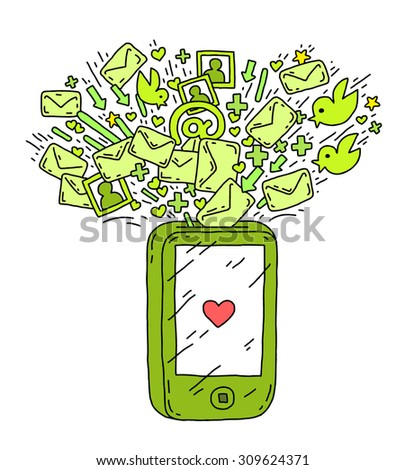 smart phone social network - stock vector