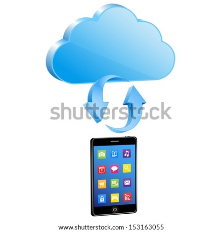 smart phone synchronize with cloud  - stock vector
