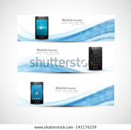 Smart phone three colorful presentation website headers wave vector illustration