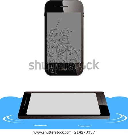 smart phone trouble - stock vector