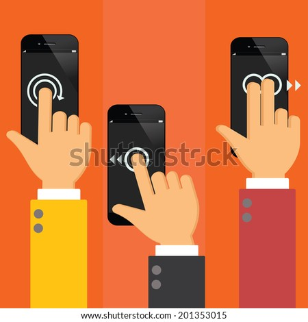 smart phone  using with hand touching screen symbol.flat design