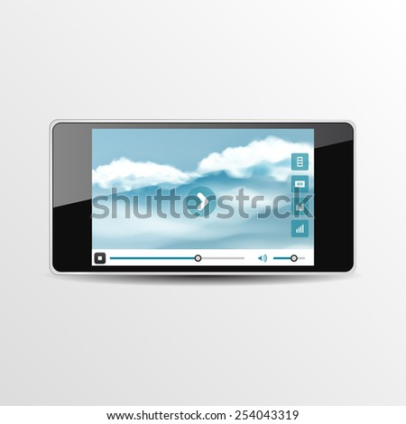 Smart Phone Video Player - Vector illustration - multiple views of a smart phone with video player interface. - stock vector
