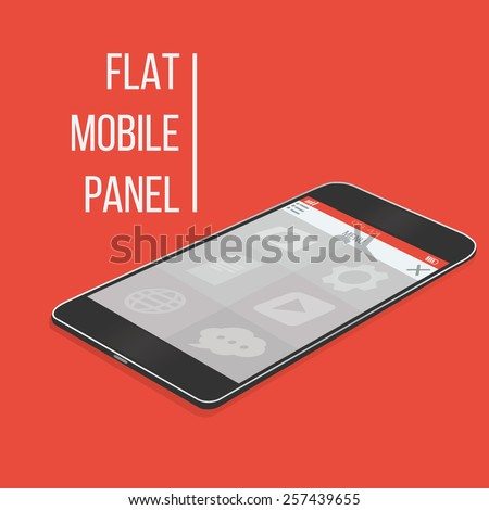 Smart phone with a flat design user interface vector illustration. - stock vector