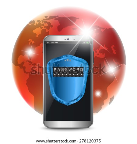Smart phone with a protective shield, secure data concept - stock vector