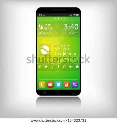 Smart phone with abstract background, icons and widgets - black - touch screen - EPS 10 - stock vector