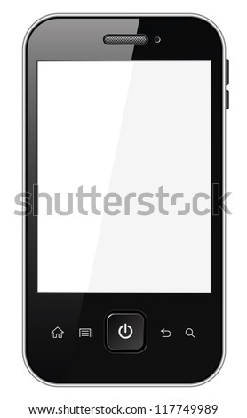 Smart phone with blank screen. Isolated on white background. Vector illustration - stock vector