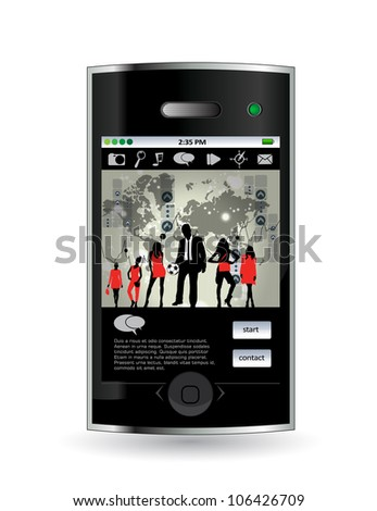 Smart phone with business application - stock vector