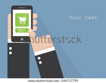Smart phone with buy button - stock vector