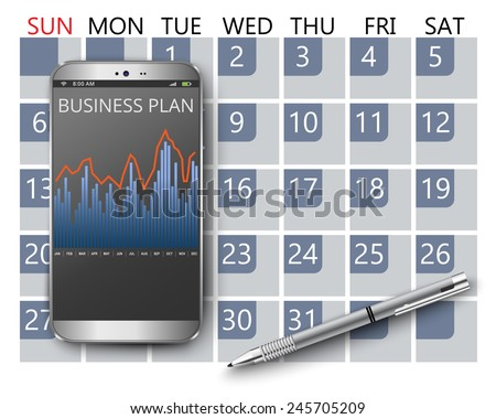 Smart phone with calendar and business plan - stock vector