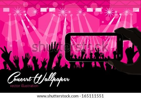Smart phone with concert scene - Illustration - stock vector