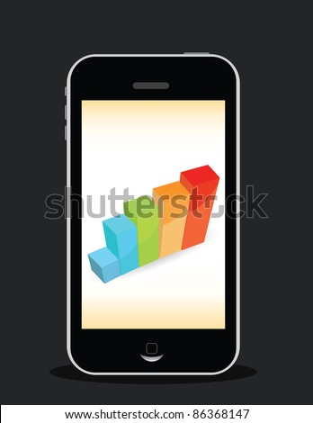 smart phone with graphic picture - stock vector