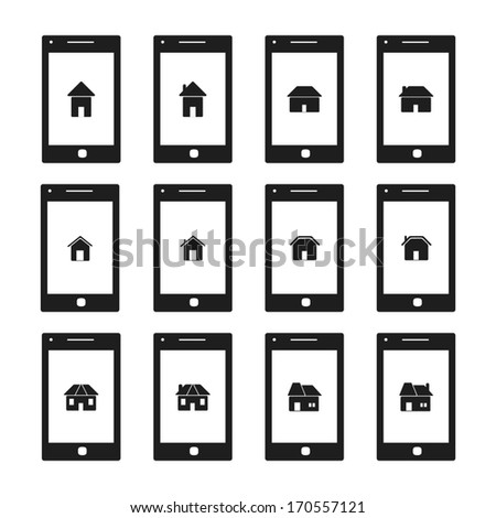 smart phone with house,home icon on screen vector set - stock vector