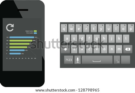 Smart phone with keyboard - stock vector
