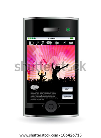 Smart phone with music application - stock vector