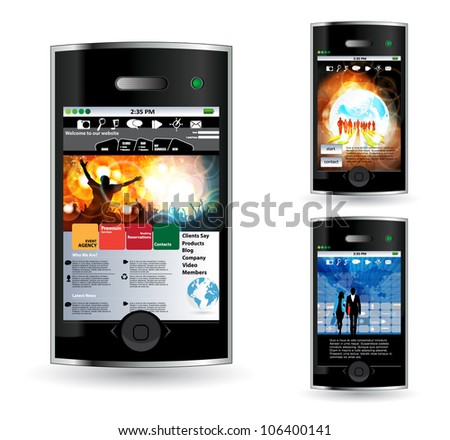 Smart phone with net application - stock vector