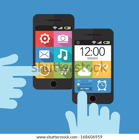 Smart phone with phone home screen - stock vector