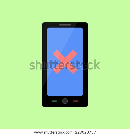 Smart phone with red cross as error icon in flat style - stock vector