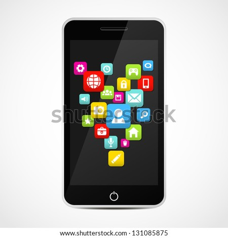 Smart Phone With Social media icons. Vector illustration. - stock vector