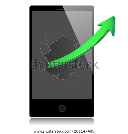 Smart phone with success growth green arrow. Vector illustration. - stock vector