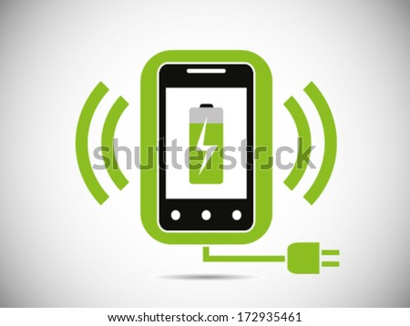 Smart phone With Wireless Charger - stock vector