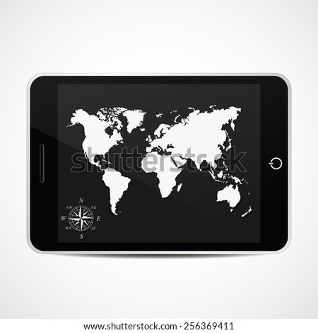 Smart Phone With world map. Vector illustration.Eps 10. - stock vector