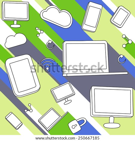 Smart phones, tablets, laptops, displays and symbols of cloud server, social connection, wireless network and security lock. In green, gray, white,black, blue - stock vector