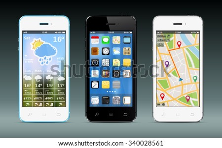 Smart phones with app icons, weather and GPS navigation widgets - stock vector