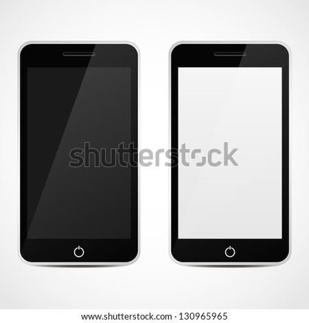 Smart Phones With Black and white Screen. ...Vector illustration. - stock vector