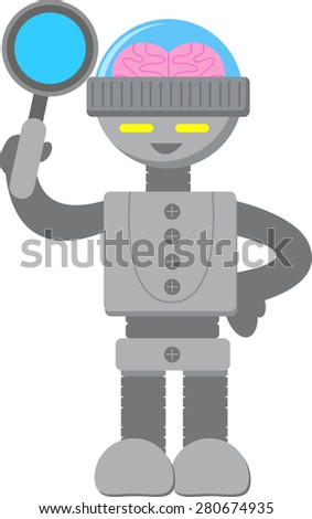 Smart Robot with Magnifying Glass - stock vector